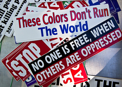 Colorful bumper stickers were on sale at the One Nation rally at the Lincoln Memorial in Washington DC on October 2, 2010 where progressive groups united for jobs, education and human rights.  (Photo by Jeff Malet)