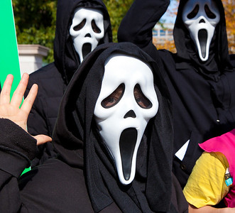 """'I Have a Scream"""". Imaginative protest images were ubiquitous among the several hundred thousand who attended a """"Rally to Restore Sanity and/or Fear"""" on the National Mall organized by Comedy Central talk show hosts Jon Stewart and Stephen Colbert  in Washington DC on Saturday, October 30, 2010. The Scream is the title of expressionist paintings and prints in a series by Norwegian artist Edvard Munch."""
