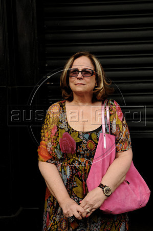 Brazilian journalist Hildegard Angel, whose mother and brother were victims (murdered) of military dictatorship participates at protest against a retired military men meeting at a military club in downtown to celebrate the anniversary of 1964 military coup, Rio de Janeiro, Brazil, March 29, 2012. A club of retired military officers celebrates annualy lheld the Brazil's 1964 military coup, but faced protestors as members arrived for the event. (Austral Foto/Renzo Gostoli)