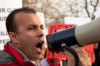 "Several hundred demonstrators demanding that Egyptian President Hosni Mubarak vacate his office gathered outside the White House for a planned march to Capitol Hill in Washington DC on Friday, February 4, 2011. Mubarak has been head of government in Egypt for 30 years. In recent days, thousands of Egyptians have poured into the streets of several cities to call for a change in government. Here chanting slogans such as ""Hey Obama, can't you hear ... 2 million in Tahrir!""  (Photo by Jeff Malet)"