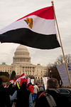 The Egyptian flag was evident as several hundred demonstrators demanding that Egyptian President Hosni Mubarak vacate his office, march down Pennsylvania Ave. from the White House to the Cap ...
