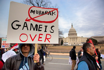 Several hundred demonstrators demanding that Egyptian President Hosni Mubarak vacate his office, march past the Capitol, in Washington DC on Friday, February 4, 2011. Mubarak has been head of government in Egypt for 30 years. In recent days, thousands of Egyptians have poured into the streets of several cities to call for a change in government. (Photo by Jeff Malet)