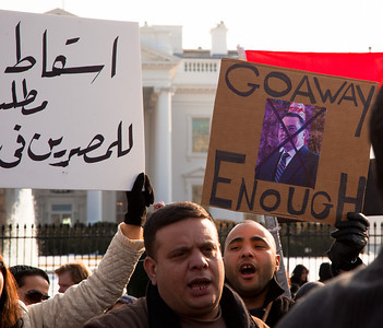 Demonstrators  demanding that Egyptian President Hosni Mubarak vacate his office gathered outside the White House in Washington DC on Sunday, January 30, 2011. Mubarak has been head of government in Egypt for 30 years. In recent days, thousands of Egyptians have poured into the streets of several cities to call for a change in government. (Photo by Jeff Malet)