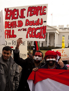 """Yemeni People Demand Downfall of the Regime"". Hundreds of demonstrators gathered in front of the White House calling on the United States to do more to help liberate Arab nations. The protestors stood in solidarity with pro-democracy movements taking place in Libya, Yemen, Bahrain, Iraq, Iran and the Sudan. In Washington DC on Saturday, February 26, 2011. (Photo by Jeff Malet)"