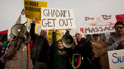 """Ghadafi Get Out"". Hundreds of demonstrators gathered in front of the White House calling on the United States to do more to help liberate Arab nations. The protestors stood in solidarity with pro-democracy movements taking place in Libya, Yemen, Bahrain, Iraq, Iran and the Sudan. In Washington DC on Saturday, February 26, 2011. (Photo by Jeff Malet)"