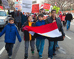 Several hundred demonstrators demanding that Egyptian President Hosni Mubarak vacate his office begin their march from the White House to the Capitol, on Pennsylvania Ave. in Washington DC o ...