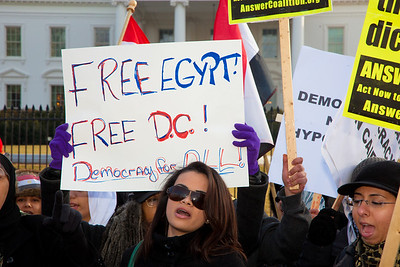 "Several hundred demonstrators demanding that Egyptian President Hosni Mubarak vacate his office gathered outside the White House for a planned march to Capitol Hill in Washington DC on Friday, February 4, 2011. Mubarak has been head of government in Egypt for 30 years. In recent days, thousands of Egyptians have poured into the streets of several cities to call for a change in government. Sign calls to ""Free Egypt"". (Photo by Jeff Malet)"