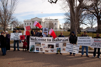 Protestors denouncing Bahrain King Hamad Bin Isa al Khalifa. Hundreds of demonstrators gathered in front of the White House calling on the United States to do more to help liberate Arab nations. The protestors stood in solidarity with pro-democracy movements taking place in Yemen, Bahrain, Libya, Iraq, Iran and the Sudan. In Washington DC on Saturday, February 26, 2011. (Photo by Jeff Malet)