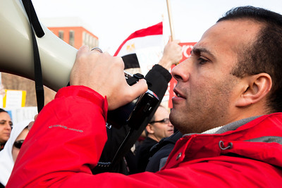 "Several hundred demonstrators demanding that Egyptian President Hosni Mubarak vacate his office gathered outside the White House for a planned march to Capitol Hill in Washington DC on Friday, February 4, 2011. Mubarak has been head of government in Egypt for 30 years. In recent days, thousands of Egyptians have poured into the streets of several cities to call for a change in government. Here chanting slogans such as ""Hey Obama, can't you hear ... 2 million in Tahrir""  (Photo by Jeff Malet)"