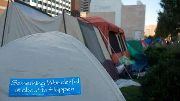 Oct. 7, 2011, Boston, MA - A bumper sticker on a tent at the one-week old Occupy Boston encampment. Photo by Ryan Hutton