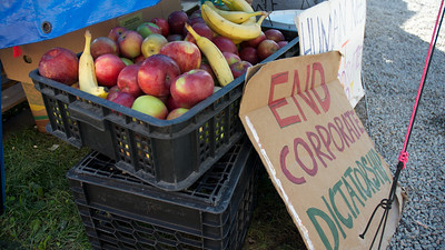 Oct. 7, 2011, Boston, MA - The food tent at the Occupy Boston protest gives out free meals three times each day and has snacks and drinks available at almost all hours to the protesters. Photo by Ryan Hutton.