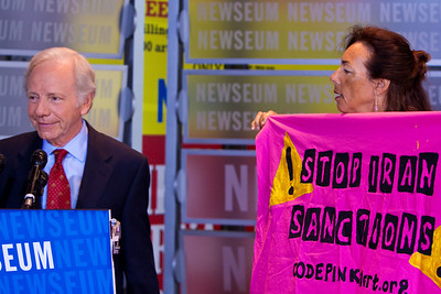 Code Pink interrupts Joe Lieberman press conference