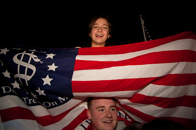 The announcement of the death of Osama Bin Laden sparked a spontaneous celebration at the north gate of the White House with chants of USA USA and the National Anthem. Midnight to 3 AM on May 1-2, 2011.