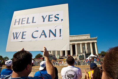 """Hell Yes We Can"" could be the theme as tens of thousands attend progressive 'One Nation Working Together' rally at the Lincoln Memorial in Washington DC on October 2, 2010 where progressive activists were hoping to counter the conservative tea party movement and energize the electorate amid fears that the Democrats could lose control of Congress. Major concerns were healthcare, jobs, education and human rights.  (Photo by Jeff Malet)"