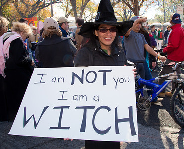 """I am not you, I am a witch"". Costumed protestors like Sunita Ahlawat from Sayerville NJ were among the several hundred thousand who attended a ""Rally to Restore Sanity and/or Fear"" on the National Mall organized by Comedy Central talk show hosts Jon Stewart and Stephen Colbert  in Washington DC on Saturday, October 30, 2010. This ""witch"" satirized Republican Senate Candidate Christine O'Donnell. It was also the day before Halloween. (Photo by Jeff Malet)"