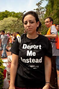 """Deport Me Instead"". Protesters gather to speak out against stricter immigration laws, such as one passed recently in Arizona, at a May Day rally in Lafayette Square Park near the White House in Washington DC, May 1, 2010.  (Photo by Jeff Malet)"