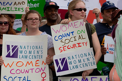 "Members of the National Women's Law Center declaring ""Women Count on Social Security"" were among hundreds of progressive activists attending a rally held outside the Capitol Building in Washington DC on Thursday, July 28, 2011. The rally to ""Save the American Dream"" was organized to tell Democrats to stand strong against Republican debt ceiling proposals that cut Social Security, Medicare and Medicaid while keeping keep tax breaks for millionaires, billionaires and oil companies. Participants the AFL-CIO and major labor unions such as AFSCME, CWA, AFGE, Teamsters, and various progressive groups such as Move-On, Rebuild the Dream, Jobs with Justice, Gray-Panthers and Code-Pink."