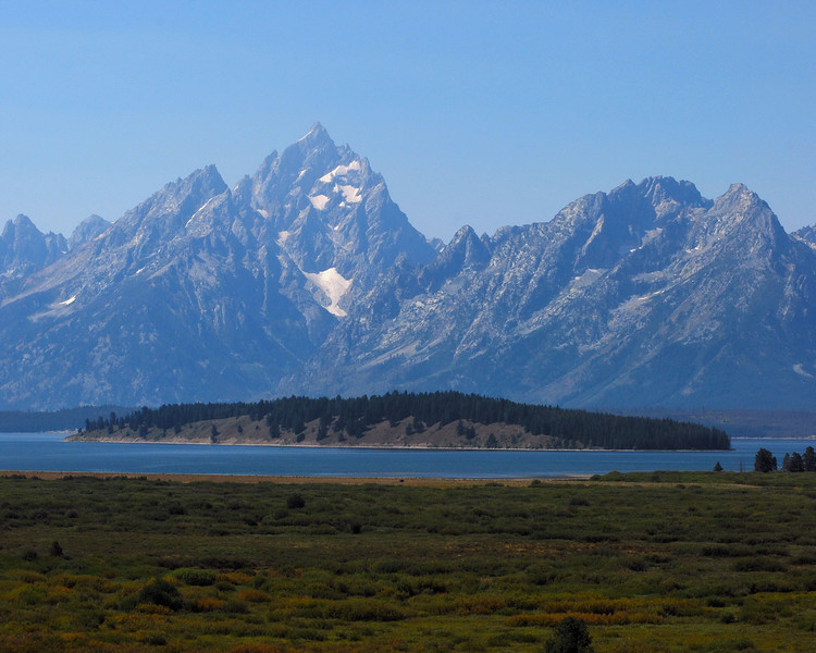 The grand Tetons as seen from Jackson lake Lodge