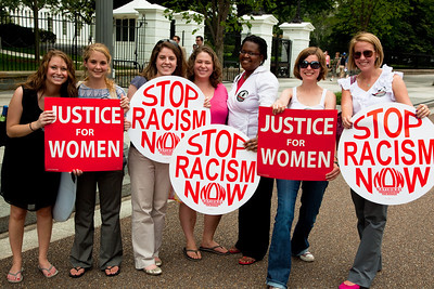 Arizona Governor Jan Brewer's visit to the White House sparked a protest by the National Organization of Women (in this photo) and other groups against her state's tough law SB1070 which aims to identify, prosecute and deport illegal immigrants. The law would make the failure to carry immigration documents a crime and give the police broad power to detain anyone suspected of being in the country illegally. Opponents have called it an open invitation for harassment and discrimination against Hispanics regardless of their citizenship status. Washington DC -  June 3, 2010 (Photo by Jeff Malet)