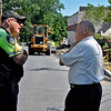 Leominster Police Sgt. Emanuel Tocci and Ward 2 Councilor Wayne Nickel discuss the sidewalk that was being installed leading from Water St. all the way down in the direction of the Mall at Whitney Field in July 2012.<br /> SENTINEL & ENTERPRISE / ASHLEY GREEN
