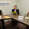 Incumbent Ward 2 Countilor Wayne Nickel and challenger Deborah Toivonen face in a debate at the Sentinel & Enterprise in 2015. At center is Sentinel & Enterprise Editor Charles St. Amand. <br /> SENTINEL & ENTERPRISE / Ashley Green