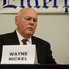 Incumbent Ward 2 Councilor Wayne Nickel makes a point in a debate with challenger Deborah Toivonen in the Ward 2 City Councilor debate at the Sentinel & Enterprise in 2015.<br /> SENTINEL & ENTERPRISE / Ashley Green