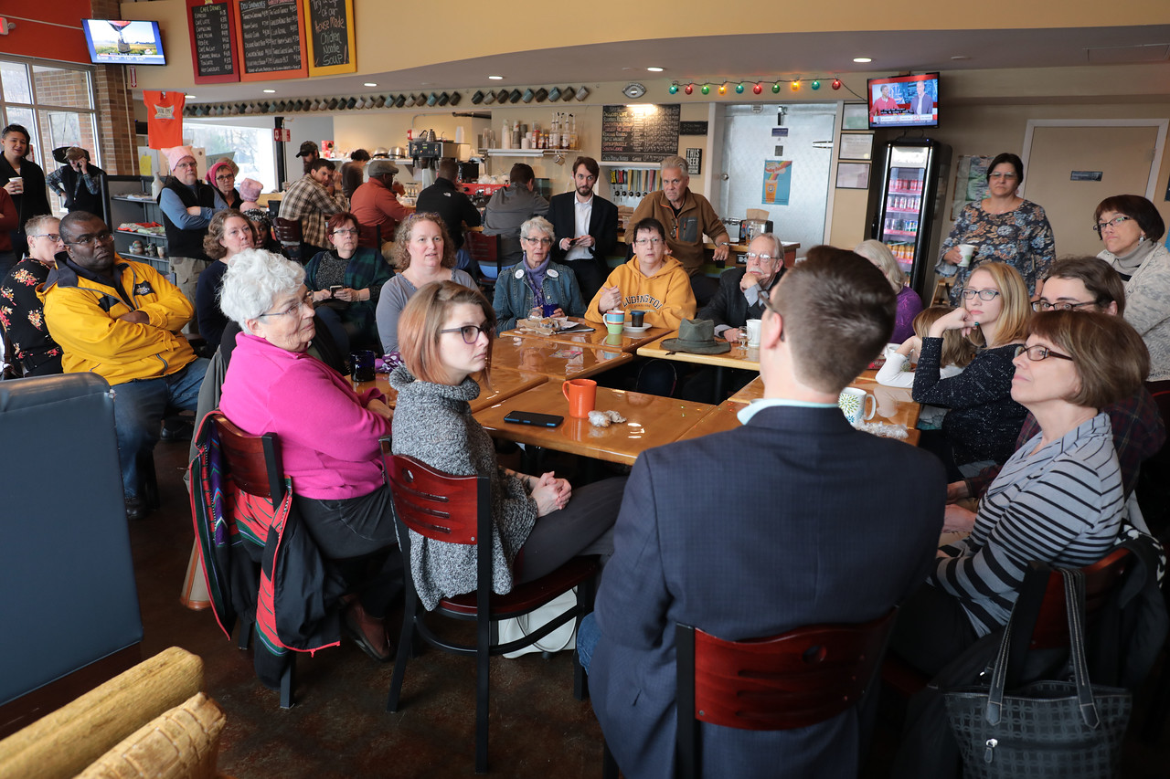 Michigan Rep. Jon Hoadley, D 60th, talked with constituents on a wide range of subjects, from potholes to education to the environment during a Coffee Hour at Brite Eyes Brewing Company, 1156 S. Burdick St. in Kalamazoo on Feb. 24, 2017. Hoadley's next Coffee Hour is scheduled for 7 a.m. March 6 at MaKenzie's Bakery, 4426 West Main St. in Kalamazoo. (Bradley S. Pines / The View from Kalamazoo)