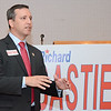 Richard Bastien, who is running a sticker campaign to get on the September primary ballot, held his campaign kick-off celebration at the Leominster Lodge of Elks on Wednesday evening. SENTINEL & ENTERPRISE / Ashley Green