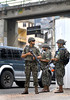 Army soldiers patrol  in the access of Rocinha slum during municipal elections, Rio de Janeiro, Brazil, October 5, 2008. Nearly 130 million voters were called up for the elections, which will select mayors and councillors for the country's 5,563 towns and cities. (Austral Foto/Renzo Gostoli)