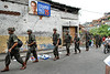 Army soldiers patrol  in Vidigal slum during municipal elections, Rio de Janeiro, Brazil, October 5, 2008. Nearly 130 million voters were called up for the elections, which will select mayors and councillors for the country's 5,563 towns and cities. (Austral Foto/Renzo Gostoli)