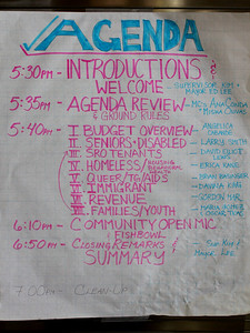 Event Agenda (pink) and list of speakers (blue).