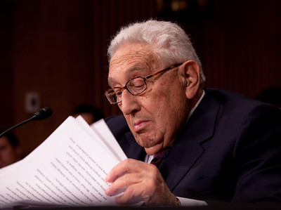 Dr. Henry Kissinger testifies before Senate Foreign Relations Committee urging for ratification of the new START Treaty on Capitol Hill in Washington DC on May 25, 2010. Dr. Kissinger has played a vital role in American arms control efforts and continues to shape public discourse on nuclear strategy. He successfully negotiated SALT I, the first agreement between the U.S. and Soviet Union to limit nuclear weapons. (Photo by Jeff Malet)