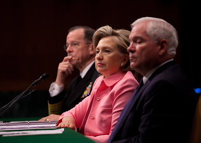 Secretary of State Hillary Rodham Clinton,  Defense Secretary Robert Gates and Joint Chiefs Chairman Admiral Mike Mullen urged the U.S. Senate to approve a new arms control START Treaty with Russia. They testified as the Senate Foreign Relations Committee began hearings May 18, 2010 on Capitol Hill in Washington DC. The treaty, which would replace the 1991 Strategic Arms Reduction Treaty and the 2002 Moscow Treaty, was signed by President Obama and Russian President Dmitry Medvedev at Prague Castle on April 8. (Photo by Jeff Malet)