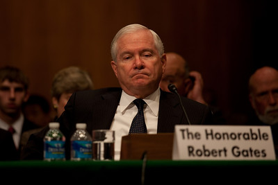 Defense Secretary Robert Gates urges the U.S. Senate to approve a new arms control START Treaty with Russia. He testified as the Senate Foreign Relations Committee began hearings May 18, 2010 on Capitol Hill in Washington DC. The treaty, which would replace the 1991 Strategic Arms Reduction Treaty and the 2002 Moscow Treaty, was signed by President Obama and Russian President Dmitry Medvedev at Prague Castle on April 8. (Photo by Jeff Malet)