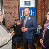 Dan Fishman, Mark Grasso and Amy Sim chat during the campaign kickoff event for State Representative candidate Josh Sanderski at 435 Bar and Grille in Leominster on Tuesday evening. SENTINEL & ENTERPRISE / Ashley Green