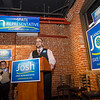 State Representative candidate Josh Sanderski gets some support from son Landen while he speaks to his supporters during a campaign kickoff at 435 Bar and Grille in Leominster on Tuesday evening. SENTINEL & ENTERPRISE / Ashley Green