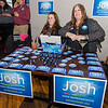 Charlotte Waitkus and Nuala Shields sell stickers and keychains during the campaign kickoff event for State Representative candidate Josh Sanderski at 435 Bar and Grille in Leominster on Tuesday evening. SENTINEL & ENTERPRISE / Ashley Green