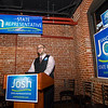 State Representative candidate Josh Sanderski speaks to his supporters during a campaign kickoff at 435 Bar and Grille in Leominster on Tuesday evening. SENTINEL & ENTERPRISE / Ashley Green