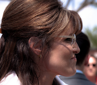 "Close-up profile of Sarah Palin at Glenn Beck's ""Restoring Honor"" rally in Washington DC on August 28, 2010. She said she was speaking not as a politician but as mother of a soldier. (Photo by Jeff Malet)"