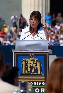 "Sarah Palin addresses the thousands of Tea Party activists and other conservatives gathered near the Lincoln Memorial for Glenn Beck's ""Restoring Honor"" rally in Washington DC on August 28, 2010. The event took place on the 47th anniversary of Martin Luther King's famous speech. (Photo by Jeff Malet)"