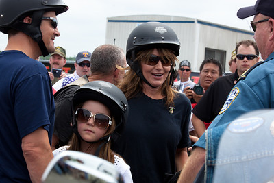 Sarah Palin (center) made an appearance at the annual Rolling Thunder motorcycle rally along with husband Todd Palin (left) and daughter Piper. Here appearing at the Pentagon parking lot for the traditional noon time start. In Washington DC on May 29, 2011.  (Photo by Jeff Malet)