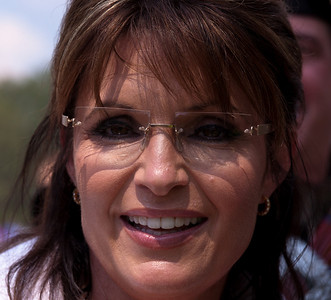 "Close-up of Sarah Palin at Glenn Beck's ""Restoring Honor"" rally in Washington DC on August 28, 2010. She said she was speaking not as a politician but as mother of a soldier. (Photo by Jeff Malet)"