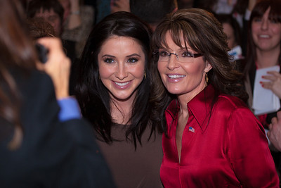 Sarah Palin poses with daughter Bristol and greets the crowd at CPAC after her keynote address on February 11, 2012. Thousands of conservative activists from around the country gathered at the Marriott Wardman Park Hotel in Washington DC on February 9-11, 2012 for the three day Conservative Political Action Committee, also known as CPAC 2012. Most of the major Republican candidates and conservative leaders were on hand with one unifying mission, defeating President Obama in November. (Photo by Jeff Malet)