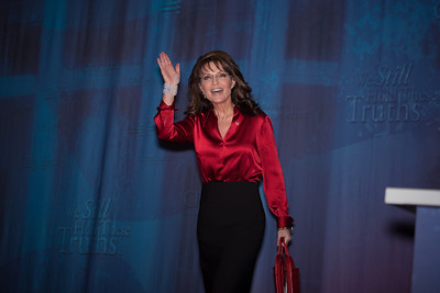 Sarah Palin waves to crowd at CPAC prior to her keynote address on February 11, 2012. Thousands of conservative activists from around the country gathered at the Marriott Wardman Park Hotel in Washington DC on February 9-11, 2012 for the three day Conservative Political Action Committee, also known as CPAC 2012. Most of the major Republican candidates and conservative leaders were on hand with one unifying mission, defeating President Obama in November. (Photo by Jeff Malet)