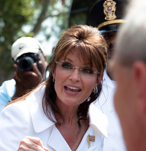 "Sarah Palin makes an appearance at Glenn Beck's ""Restoring Honor"" rally in Washington DC on August 28, 2010. She said she was speaking not as a politician but as mother of a soldier. (Photo by Jeff Malet)"