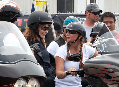 Sarah Palin made an appearance at the annual Rolling Thunder motorcycle rally along with members of her family. Sarah rides behind daughter Willow. Here appearing at the Pentagon parking lot for the traditional noontime start. In Washington DC on May 29, 2011.  (Photo by Jeff Malet)