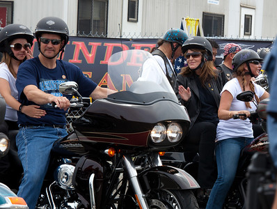 Sarah Palin made an appearance at the annual Rolling Thunder motorcycle rally along with members of her family. Sarah rides behind daughter Willow on the right. Piper Palin rides behind father Todd on the left. Here appearing at the Pentagon parking lot for the traditional noontime start. In Washington DC on May 29, 2011. (Photo by Jeff Malet)