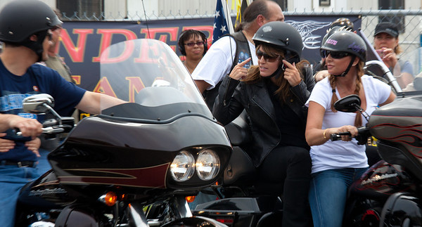 Sarah Palin made an appearance at the annual Rolling Thunder motorcycle rally along with members of her family. Sarah rides behind daughter Willow. Todd (on left) rides with daughter Piper (unseen). Here appearing at the Pentagon parking lot for the traditional noon time start. In Washington DC on May 29, 2011.  (Photo by Jeff Malet)