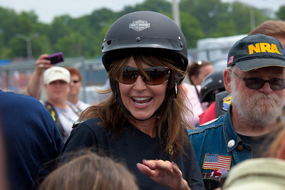 A smiling Sarah Palin made an appearance at the annual Rolling Thunder motorcycle rally along with members of her family. Here appearing at the Pentagon parking lot for the traditional noontime start. In Washington DC on May 29, 2011.  (Photo by Jeff Malet)