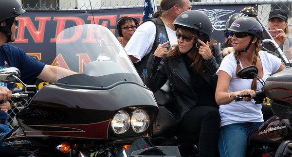 Sarah Palin made an appearance at the annual Rolling Thunder motorcycle rally along with members of her family. Sarah rides behind daughter Willow. Here appearing at the Pentagon parking lot for the traditional noon time start. In Washington DC on May 29, 2011.  (Photo by Jeff Malet)